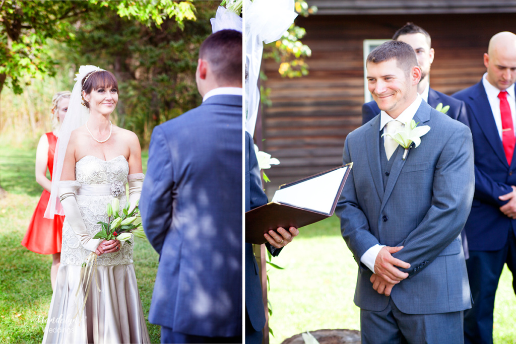 The bride and groom stare into each others eyes during the wedding ceremony.